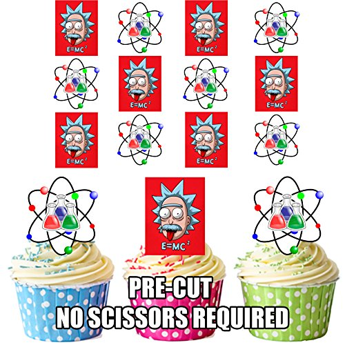 vorgeschnittenen Albert Einstein Science Mix–Essbare Cupcake Topper/Kuchen Dekorationen (24Stück)