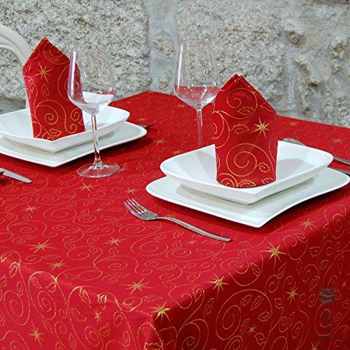 """Mantel de Navidad con estrellas de calidad superior y servilletas, tratamiento antimanchas, color rojo, Rojo, (59 x 98"""" (150x 250cm))"""