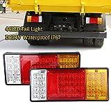 2PSC 44LED Universal Rückleuchten Heckleuchten Bremsleuchte Blinker rücklicht anhänger 24V Wasserdicht für Hänger Anhänger LKW Lastwagen KFZ Boot PKW