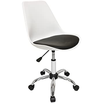 Great Hartleys Stylish Modern Office Chair With Wheels   Chrome Base / White Seat  / Black Cushion