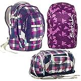 satch by Ergobag Berry Carry 3-teiliges Set Rucksack, Sporttasche & Regenhaube Lila