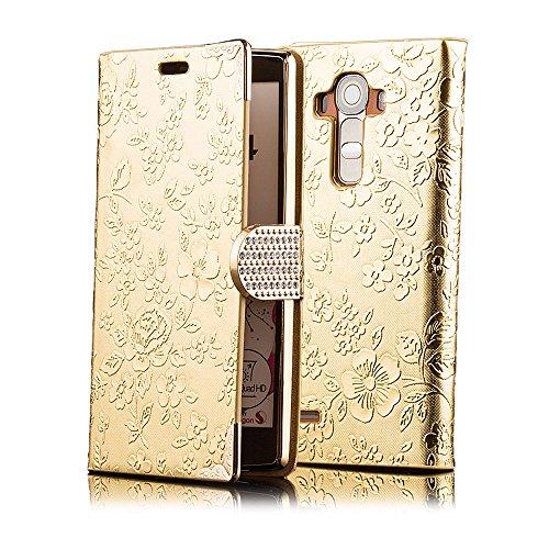 iCues LG G4 Chrom Blume Buch - Gold - Exklusives Design mit eingelassenen Strass Steinen + Displayschutz