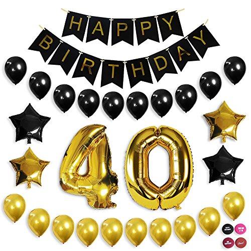 Dekorationen, Ballon-Banner zum 40. Geburtstag, 40. Party Supplies, Büro, schwarz und gold Geburtstag Hintergrund (Gold-party Supplies Und Schwarz)