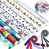 8 Pièces Papier d'Emballage de Noël Set avec 12 Pièces Ruban Coloré