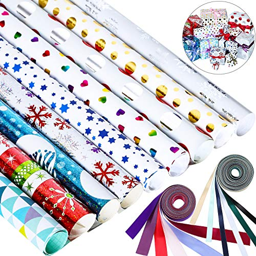 Verpackung Papier Set mit 12 Stücke Farbigem Band ()