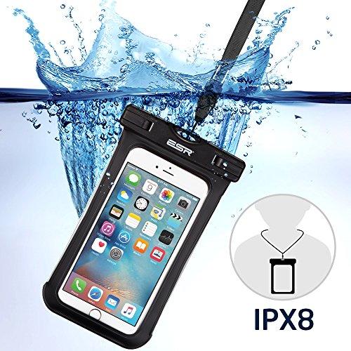 Sac étanche, ESR Pochette étanche universel Waterproof Case Bag Certifiée IPX8 (profondeur de 10m) avec Courroie de Cou et Brassard pour iPhone 7 6s 6 Plus, iPhone 7 6 5 SE, Samsung Galaxy Note 5 4 3 2, S6 Edge, S8, S7, S6, S5, S4, HTC, Wiko et les autres Smartphones Moins de 5,5 pouces (Noir)