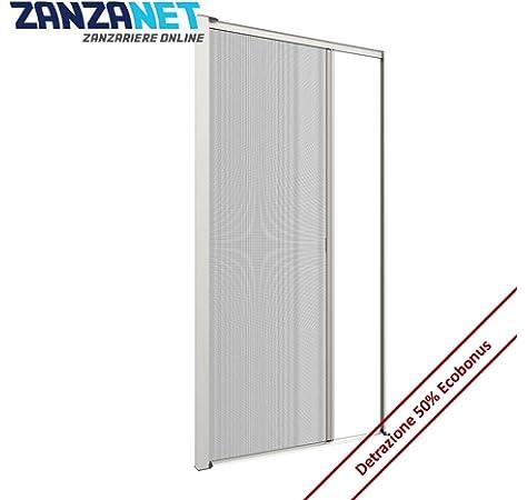Zanzariera verticale 40 mm per finestre su misura personalizzabile a molla antivento telaio con profilo robusto e resistente in alluminio Avorio