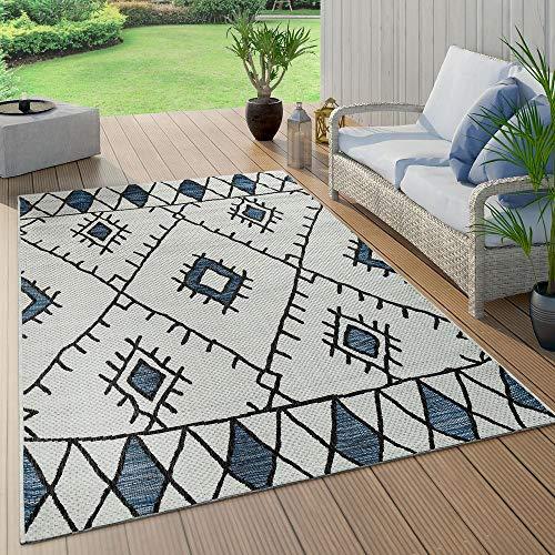 Paco Home In- & Outdoor Teppich Flachgewebe Geometrisch Abstrakt Rauten Design Ethno Blau, Grösse:160x220 cm - Home Trends Geometrischen Teppich
