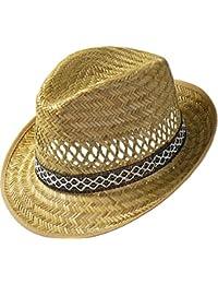 Erntehelfer Strohhut (Sonnenschutz) für Damen und Herren, cooler und modischer Sonnenhut im Trilby Look für den Sommer am Strand oder im Urlaub, verschiedene Größen, Farbe natur