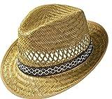 Erntehelfer Strohhut (Sonnenschutz) für Damen und Herren, cooler und modischer Sonnenhut im Trilby Look für den Sommer am Strand oder im Urlaub, verschiedene Größen, Farbe natur, Gr: 59 cm