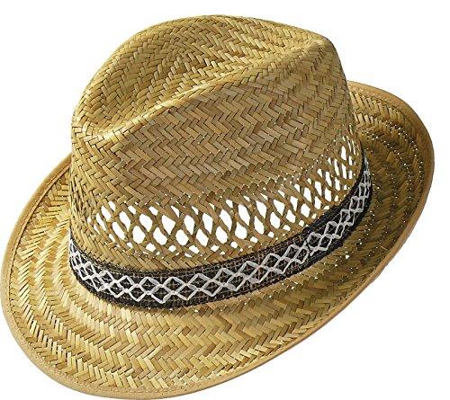 Erntehelfer Strohhut (Sonnenschutz) für Damen und Herren, cooler und modischer Sonnenhut im Trilby Look für den Sommer am Strand oder im Urlaub, verschiedene Größen, Farbe natur, Gr: 58 cm - Sombrero Panama