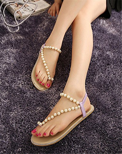 Fortuning's JDS plates sandales perles strass tongs Chaussures femme Violet