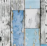i.stHOME Klebefolie Möbelfolie altes Holz - Scrapwood blue - Dekorfolie Holzoptik 45 x 200 cm - Selbstklebefolie Holzdekor vintage