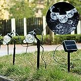 Salcar 3 Meter Solar LED Lichterkette mit 8-Kugeln, USB-Stecker, Erdspieß für Garten, wasserdicht IP44, innen & außen, dynamische Lichteffekte (Weiß)