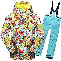 Gimitunus Chaqueta de esquí con Capucha y Pantalones Impermeables, a Prueba de Viento, para niños, cálidos y Resistentes al Viento, con 2 pzs. (Color : Azul, tamaño : 158/164)