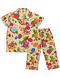 CrayonFlakes Kids Wear Girls 100% Cotton Snail Print Night Suit Set Cream