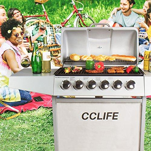 61GuILXID3L - CCLIFE Brenner Gasgrill Gas-Grill BBQ Barbecue Toronto Grill Grillwagen Standgrill Set TÜV Getestet Neu, Farbe:Silber, Größe:6 Brenner mit Zubehör