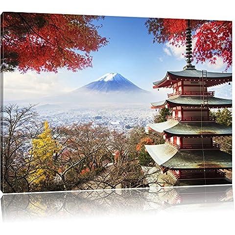 tempio giapponese in autunno, Formato: 60x40 su tela, XXL enormi immagini completamente Pagina con la barella, stampa d'arte sul murale con telaio, più economico di pittura o un dipinto a olio, non un manifesto o un banner,