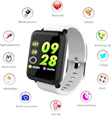 "1.3"" Color Screen Fitness Tracker HR with Heart Rate Blood Pressure Monitor,Sport Smart Watch Activity Trackers with with Sleep Monitor, Step Counter, Message Reminder,Pedometer for Women and Men"