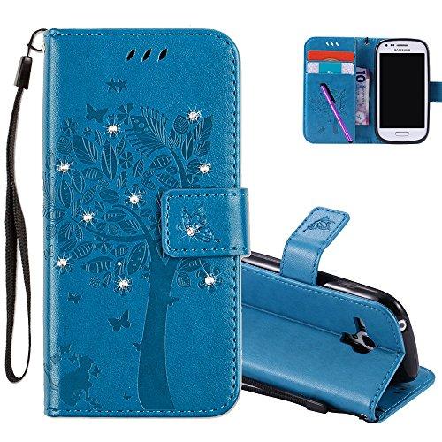 hmtechus Samsung Galaxy S3Mini Hülle 3D Kristall geprägtem Love Tree Cat Schmetterling Muster Handgefertigt Bling Glanz Diamant PU Flip Ständer Kartenhalter Wallet Cover Samsung Galaxy S3Mini, blau