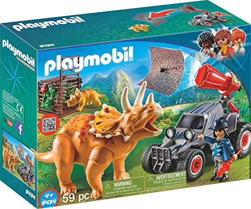 Playmobil- Enemy Quad with Triceratops Coche