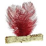 MagiDeal Charleston Bandeau Paillette Doré au Plume Bordeaux Flapper Headband pour Cosutme Cosplay