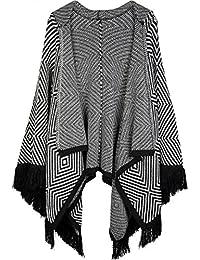 e0648c897b9d07 styleBREAKER Cape mit aztekischem Karo Streifen Muster und Kapuze, Fransen,  Umhang, Überwurf,