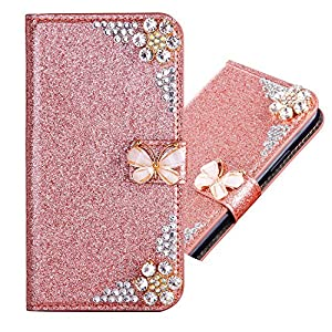 Bling Glitter Glitzer Diamond Ledertasche Bookstyle Hülle für iPhone SE/5S/5