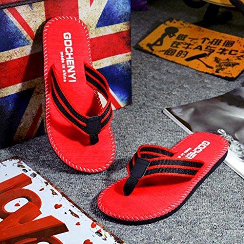 OverDose Männer Sommer Streifen Flip Flops Schuhe Sandalen Herren Slipper Flip-Flops Beschreibung Rot
