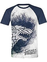 Game Of Thrones Painted Stark Raglan T-shirt blanc/bleu