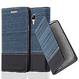 Cadorabo Hülle für Samsung Galaxy S4 Mini - Hülle in DUNKEL BLAU SCHWARZ – Handyhülle mit Standfunktion und Kartenfach im Stoff Design - Case Cover Schutzhülle Etui Tasche Book