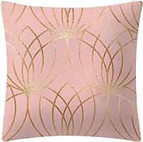QingJiu Rose Gold Pink Cushion Cover Square Pillowcase Home Decoratio (G, 45X45cn)