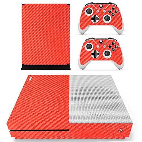 DOTBUY Vinyl Skin Sticker Skin Skin Skin Skin Skin für Xbox One S Console & Wireless Controller Carbon Fiber Red