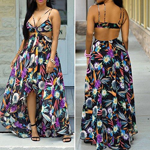 La Cabina Femme Sexy Maxi Robe Tunique Bohémienne Florale Asymétrique Dos Nu pour Soirée Cocktail Party Plage Noir