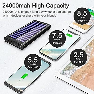 Batterie Externe TSSIBE 24000 mAh Power Bank 5.8A 4 Ports Solaire Chargeur Portable avec 3 Entrées (USB C et Lightning et Micro) et LED Lumineuse pour iPhone X / 8 / 7 / 6 / 6S Plus 5S, iPad, Samsung Galaxy, Huawei, Smart Cell Phones and Tablet de TSSIBE