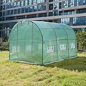 ZNL Folien Gewächshaus Foliengewächshaus Garten Treibhaus Folienzelt Tomatenhaus Frühbeet Pflanzenhaus mit Seitenfenster 350 x 200 x 200cm EHF05