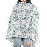 #6: Motherly Nursing Breastfeeding Cover Scarf Cloth- Breast Feeding shawl (Green/Blue Flower Print)