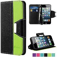 iPhone SE Custodia - Vakoo iPhone 5S Cover flip a portafoglio in pelle sintetica premium Protettiva Custodia per Apple iPhone 5/5S/SE (Nero Verde)