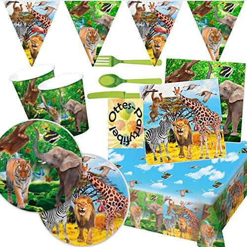 HHO Safari-Party Elefant Tiger Zebra Wildtiere Partyset für 16 Kinder Teller Becher Servietten Tischdecke Besteck Girlande 102 Teile
