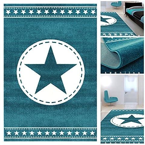 Jugendzimmer Teppiche Blau Weiss mit exklusivem Stern | Teppiche m.