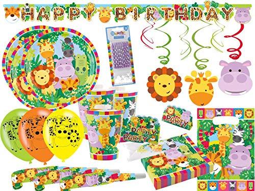 Amscan/Diverse Safari Tiere Jungle Partyset 74-TLG. - Party-Set Komplettset für 8 Kinder - Teller Becher Servietten Tüten Luftballons Girlanden usw.