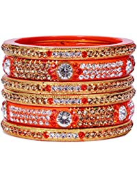 Dulari Stone Embellished Orange Lac Round Bangles For Women (Set Of 6 Bangles)