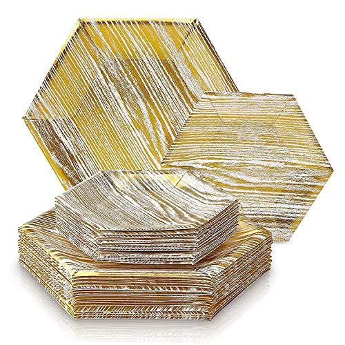 Silver Spoons eleganter China-Look,Hexagon-Holz-Design, Einweggeschirr Party-Set, 36 Stück ( 18 Dinner-Teller/18 Dessert Teller), Wood Kollektion-Weiß/Gold (Chinesische Dessertteller)