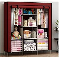 FASNO 3-Door Foldable Wardrobe for Clothe Almira, 8 Rack Color Wine Red 88130