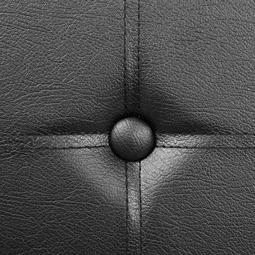Songmics Sitztruhe 3-Sitzer Kunstleder, schwarz, 110x38x38cm - 5