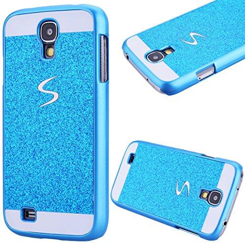GrandEver Custodia Rigida per Samsung Galaxy S4, UltraSlim Dura PC Protettiva Cover Bumper, Glitter Bling Hard Protettivo Durable Case con Diamanti Back Case Copertura - Blu