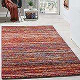 Paco Home Teppiche Modern Wohnzimmer Teppich Spezial Melierung Rot Multicolour Meliert
