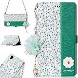 Alfort Funda Sony L1, 3 en 1 Carcasa Sony L1 Case de Piel Repujada Pintada Cover la Cubierta del Cuero Moda Cascara con Cadena/Soporte Plegable y Ranura de Tarjeta Serie de Flores (Orquídeas)