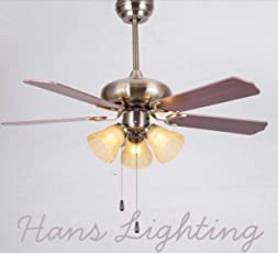 Hans Lighting Ceiling Fan with Light, 5 Blade, 48 inch