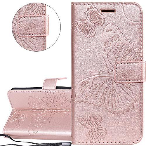 Herbests Cover compatibile con Xiaomi Redmi Note 7 Custodia PU Leather Retro Vintage Flip Cover Case Goffratura Rose Fiore Modello Copertura Puro Color Custodia Portafoglio Oro Rosa